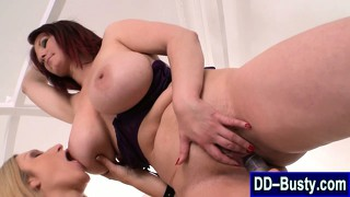 Big Breasted Lesbians Toy With Dildo