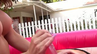 Tough Evelin Rain Straps A Dildo On A Moving Mechanical Bull For Multiple Orgasms