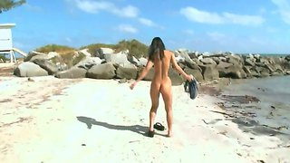 Skinny asian miako enjoys having a wild solo while being at the beach