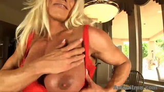 Aziani iron hardbody fitness model get naked and plays