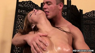 Carmen begs for her ginger snatch to be painted white by jovial stud