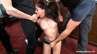 Brunette bank teller with big round ass gets gangbanged