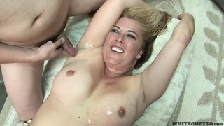 Cuckold gangbang leads to a hairy bush full of man juice for this blonde bitch