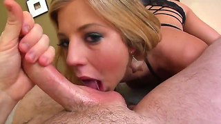 Hot pov scene with a sexy blonde deepthroating a dude with a long shaved dick