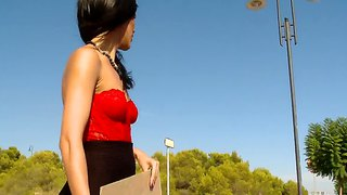 Slutty Samia Duarte Masturbates Right On The Road