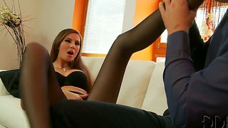 Leggy Hot Brunette Conny In Nylon Pantyhose