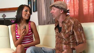 The so sexy and pretty brunette lexi diamond with a fantastic body sucks chris charming's cock