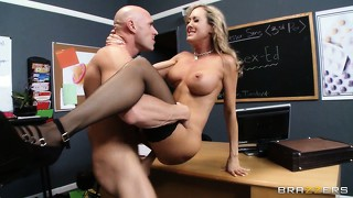 The teacher has him fucking her all over the classroom and keeps begging for more