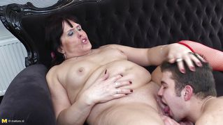 Chubby mature drilled on the couch