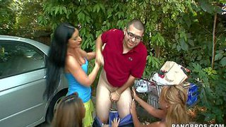 Luscious lopez, mia lelani and bridgette b are three big titted pornstars. the pick up a shy amateur guy outdoors. they pull out his dick and give blowjob in public place.