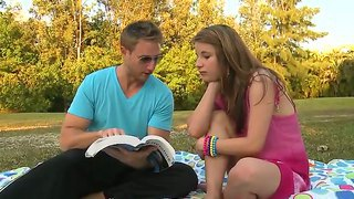 Skinny Girl Levi Cash Is Fucking With A Handsome Guy Maxi Booty On The Grass