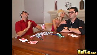 Two real thugs playing card with sexy blonde chick