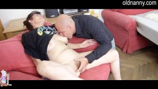 Horny Granny And Younger Man Having Blowjob Together