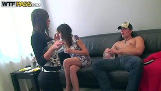 Tiffany, lina, lucille, lerok, berta and nora are horny and ready to get the sex party started. one cute brunette gives blowjob to student guy and then bares it all and opens her legs to let him touch her wet tight pussy!