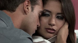 Business lady jynx maze gets a relaxation massage by her young worker rocco reed