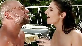 Grandpa And Teen In Nasty Pissing Action