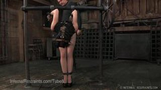Elise Graves Fucked And Caned In Bondage With Hood