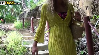 Truly Hot And Sexy Slender Blonde Tiffany Walking In Woods And Meeting There Some Tight Cocked Guy, She Sucks His Dick And Fucks With Him Hard!