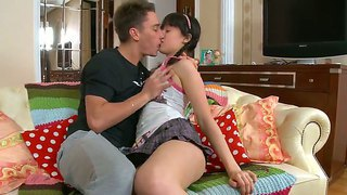 Cute Dark Haired Babe Abigail Enjoys In Getting Her Shaved And Young Pussy Licked On Couch