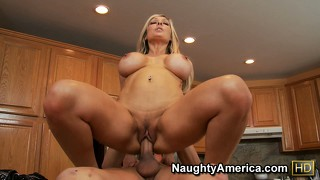 Jenna cruz rides his big cock making her double d boobs bounce