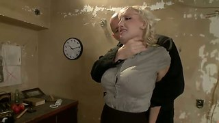 Cocky student humilited buy her hungry bald teacher.