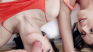 Cindy And Aimee Ryan Share On Hard Dick On The Bed