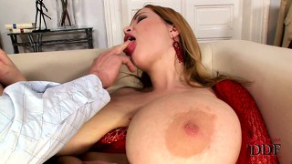Busty terry sucks cock and get nailed from behind while sucking
