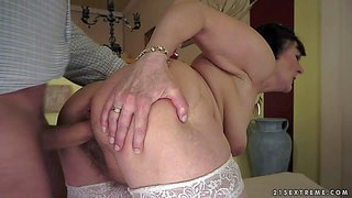 Margo t is a sex starved oldie with small tits and hairy pussy. mature brunette in white lace stockings gets her cunt drilled by stiff young cock and loves it. watch her get sexual pleasure.