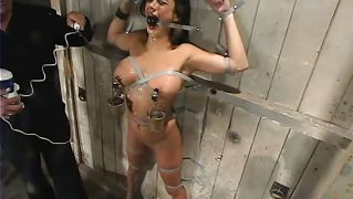 Busty babe has a wet experience