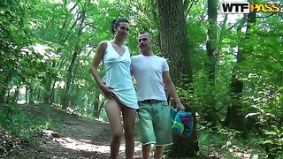 Look at delightful skinny brunette babe yasmine making blowjob in the forest