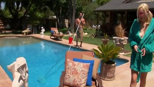 Stunning blonde teen sun bathes nude to seduce the poolboy