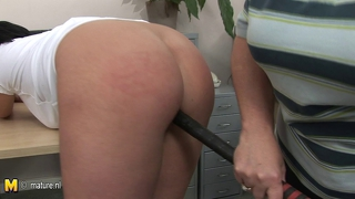 Big Titted Mom Fucks Teen Pupil With Baseball Bat
