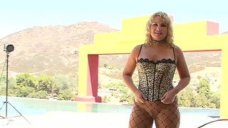 Naughty Blonde Milf Poses In Fishnet Pantyhose