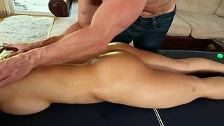 Muscled Guy Massages A Little Dirty Asian Girl.