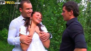 Drunk Bride Madelyn Fucked Hard Be Her Bridegroom's Best Friends In The Forest