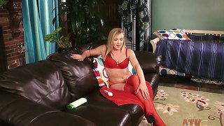 Blonde Mandylou Takes Off Her Red Lingerie And Oils Body Before Masturbation