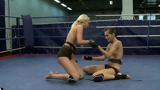 Young And Horny Girls Aspen And Blond Cat Fighting For Neighborhood Dick