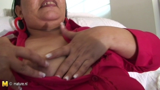 Big Chunky Latin Mama Riding A Rubber Dildo
