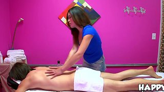 The Obedient Brunette Asian Babe Noni Luv Makes A Good Massage And Handjob To The Johnny J