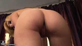 Blonde freak takes her thong off and fingers her pussy from behind