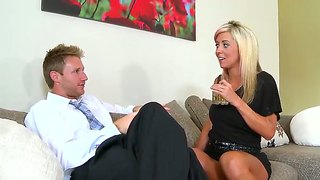 Blonde lets guy stick his thick meat stick in her mouth
