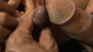 Tranny whore with tattoos gets her rod sucked and eats up his