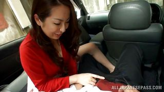 Japanese Milf Sucks Cock In Back Seat