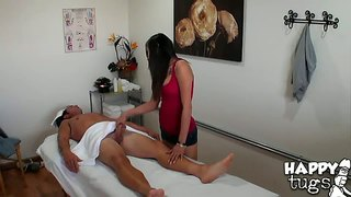 Petite arial rose gives a handjob to rusty nails