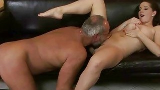 Busty Teen Seducing A Lucky Grandpa