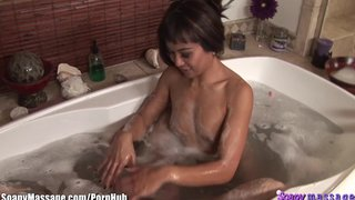 Asian Masseuse Bath And Blowjob