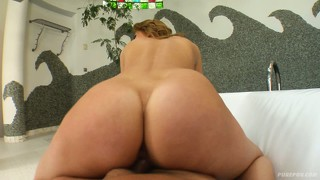 She gets on top and fucks, sucks again, and takes it up the ass