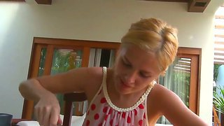 Blonde Sasha Gets Very Horny While Having Her Breakfast And Decides To Go Masturbate