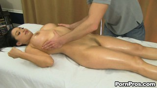 Linda lay thought the masseur was getting a little frisky but she liked it