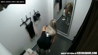 Voyeur nice blonde fitting lingerie